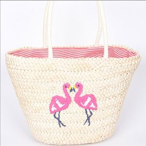 Straw Tote Purse With Embroidered Flamingos